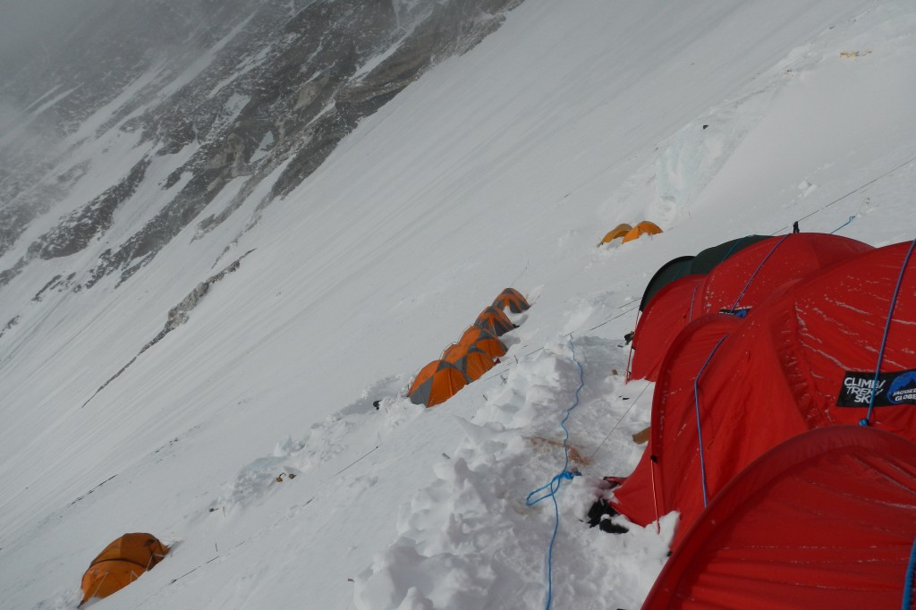 Camp 3 high on the Lhotse Face at a height of approx 7000m.